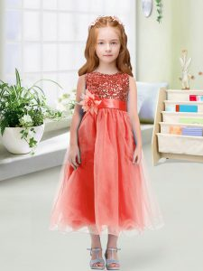 Dazzling Tea Length Watermelon Red Flower Girl Dresses for Less Organza Sleeveless Sequins and Hand Made Flower