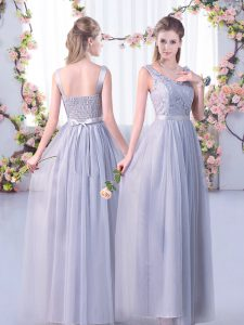 Grey Tulle Side Zipper V-neck Sleeveless Floor Length Bridesmaid Dress Lace and Belt