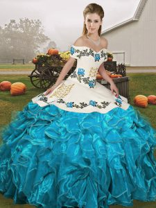 Cute Sleeveless Floor Length Embroidery and Ruffles Lace Up Quinceanera Gowns with Blue And White