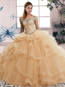 Champagne Ball Gowns Tulle Off The Shoulder Sleeveless Beading and Ruffles Floor Length Lace Up Quinceanera Gown