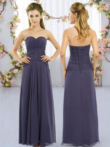 Most Popular Navy Blue Lace Up Sweetheart Ruching Vestidos de Damas Chiffon Sleeveless