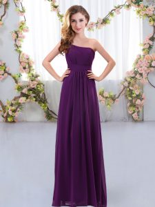 Custom Made Floor Length Zipper Bridesmaids Dress Dark Purple and In with Ruching
