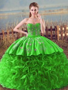 Deluxe Sweetheart Sleeveless Sweet 16 Quinceanera Dress Embroidery and Ruffles Fabric With Rolling Flowers