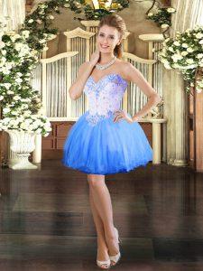Decent Blue Sleeveless Beading Mini Length Prom Evening Gown