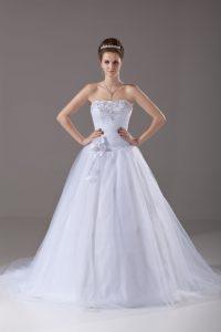 Clearance Sleeveless Brush Train Beading and Hand Made Flower Lace Up Wedding Dress