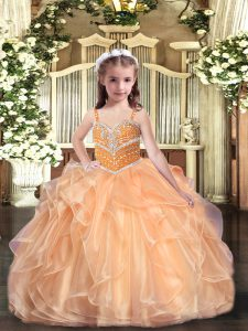 Inexpensive Straps Sleeveless Lace Up Little Girl Pageant Gowns Peach Organza