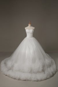 Delicate Sleeveless Tulle Court Train Lace Up Wedding Dress in White with Beading and Hand Made Flower