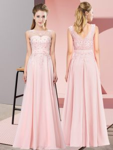 Dynamic Floor Length Zipper Damas Dress Baby Pink for Wedding Party with Beading and Appliques