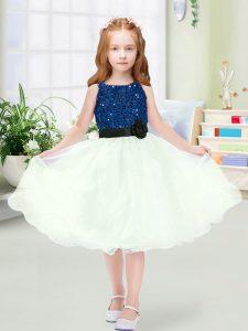 Fantastic Blue And White Scoop Zipper Sequins and Hand Made Flower Flower Girl Dresses for Less Sleeveless