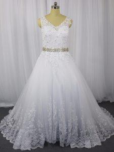 White Zipper Bridal Gown Beading and Lace Sleeveless Brush Train