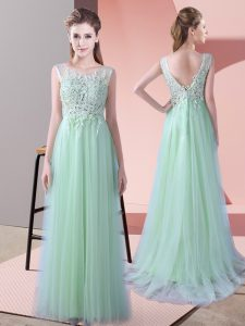 Perfect Apple Green Empire Scoop Sleeveless Tulle Brush Train Zipper Beading and Lace Bridesmaids Dress