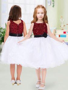 Designer White Organza Zipper Flower Girl Dresses for Less Sleeveless Knee Length Sequins and Hand Made Flower