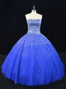 Royal Blue Ball Gowns Tulle Strapless Sleeveless Beading Floor Length Lace Up Quinceanera Gown