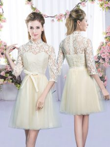 Champagne Half Sleeves Bowknot Mini Length Dama Dress for Quinceanera