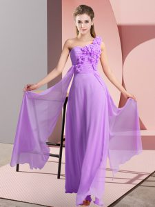 Floor Length Empire Sleeveless Lavender Wedding Guest Dresses Lace Up