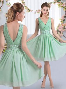 Designer Chiffon V-neck Sleeveless Zipper Beading Quinceanera Court of Honor Dress in Apple Green