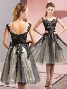 Exquisite Sleeveless Knee Length Beading and Lace Zipper Dama Dress with Black