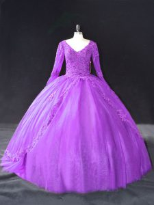 High Quality Purple Ball Gowns V-neck Long Sleeves Tulle Floor Length Lace Up Lace and Appliques Vestidos de Quinceanera