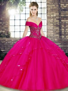 Fuchsia Ball Gowns Off The Shoulder Sleeveless Tulle Floor Length Lace Up Beading and Ruffles Ball Gown Prom Dress