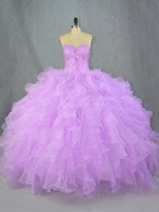 Lavender Lace Up Sweetheart Beading and Ruffles Quinceanera Dress Organza Sleeveless