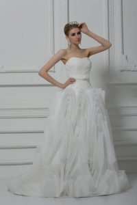 White Ball Gowns Fabric With Rolling Flowers Sweetheart Sleeveless Belt Lace Up Wedding Dress Brush Train