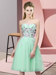 Most Popular Knee Length Lace Up Bridesmaid Gown Apple Green for Wedding Party with Appliques