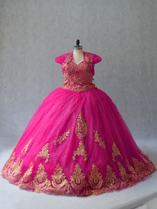 Ball Gowns Sleeveless Hot Pink Sweet 16 Dresses Court Train Lace Up