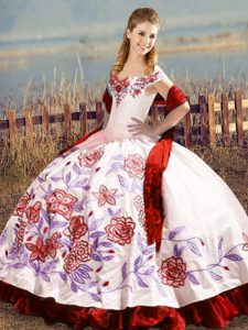 Superior White And Red Sleeveless Satin Lace Up Quince Ball Gowns for Sweet 16 and Quinceanera