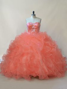 Superior Orange Organza and Tulle Lace Up Sweetheart Sleeveless Floor Length Vestidos de Quinceanera Beading and Ruffles