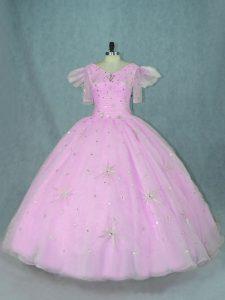 Organza V-neck Short Sleeves Zipper Beading 15th Birthday Dress in Lilac