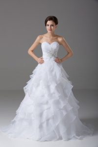 Sophisticated Sweetheart Sleeveless Brush Train Lace Up Wedding Dress White Organza