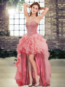 Customized Watermelon Red Sweetheart Neckline Beading and Ruffles Prom Dresses Sleeveless Lace Up