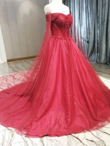 Coral Red A-line Beading Wedding Gown Zipper Tulle Sleeveless