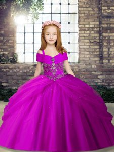 Luxurious Fuchsia Little Girls Pageant Gowns Party and Wedding Party with Beading Sleeveless Lace Up