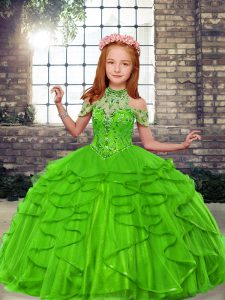 High-neck Lace Up Beading and Ruffles Girls Pageant Dresses Sleeveless