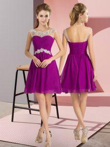 Excellent Purple Lace Up Bateau Beading Vestidos de Damas Chiffon Cap Sleeves