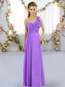 One Shoulder Sleeveless Lace Up Hand Made Flower Bridesmaid Dresses in Lavender