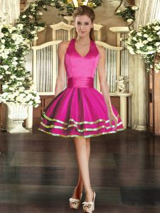 Dramatic Fuchsia Sleeveless Tulle Lace Up Prom Evening Gown for Prom and Party