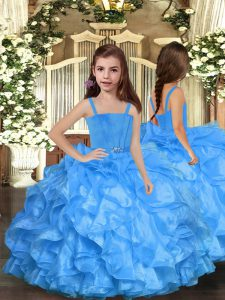 Beauteous Sleeveless Floor Length Ruffles Lace Up Little Girl Pageant Dress with Blue