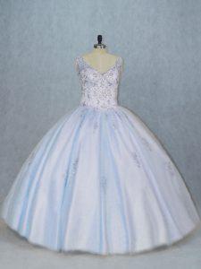 Flirting Blue Side Zipper V-neck Beading Quinceanera Dresses Tulle Sleeveless
