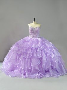 Vintage Ball Gowns Sleeveless Lavender Quinceanera Gown Brush Train Lace Up