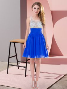 Royal Blue Side Zipper Quinceanera Court of Honor Dress Beading Sleeveless Mini Length