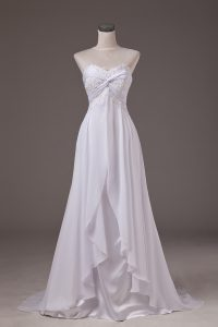 Exquisite White Empire Sweetheart Sleeveless Chiffon Sweep Train Lace Up Lace Wedding Dresses