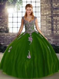 Sleeveless Floor Length Beading and Appliques Lace Up Sweet 16 Quinceanera Dress with Olive Green