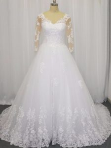 Exceptional A-line 3 4 Length Sleeve White Wedding Dresses Brush Train Zipper