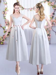 Cute Cap Sleeves Tea Length Appliques Lace Up Bridesmaids Dress with Silver