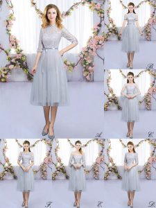 Deluxe Grey Tulle Zipper High-neck Half Sleeves Tea Length Wedding Party Dress Lace and Belt