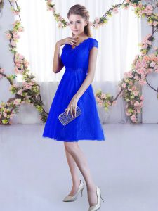 Royal Blue A-line Lace Bridesmaid Gown Lace Up Lace Cap Sleeves Mini Length