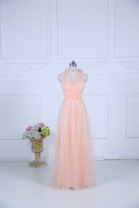 Peach Halter Top Zipper Ruching Court Dresses for Sweet 16 Sleeveless