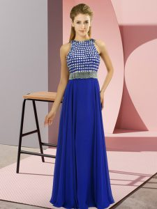 Extravagant Side Zipper Prom Evening Gown Royal Blue for Prom and Party and Military Ball with Beading